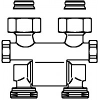 """Multiflex F kétcsöves fűtőtest-csatlakozás ZB, elforgatható, 3/4"""" hollandi x 3/4"""" km"""
