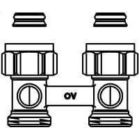 """Multiflex F kétcsöves fűtőtest-csatlakozás ZB, egyenes, 3/4"""" hollandi x 3/4"""" km, sárgaréz, nikkelezett"""