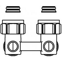"""Multiflex F kétcsöves fűtőtest-csatlakozás ZB, sarok, 3/4"""" hollandi x 3/4"""" km, sárgaréz, nikkelezett"""