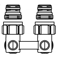 """Multiflex F kétcsöves fűtőtest-csatlakozás ZB, sarok, 1/2"""" km x 3/4"""" km, sárgaréz, nikkelezett"""