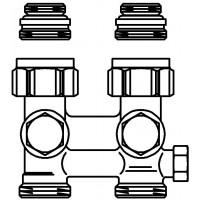 """Multiflex F egy- vagy kétcsöves fűtőtest-csatlakozás CEW, egyenes, 1/2"""" km x 3/4"""" km, sárgaréz, üríthető"""