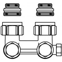 """Multiflex F egy- vagy kétcsöves fűtőtest-csatlakozás CEW, sarok, 1/2"""" km x 3/4"""" km, sárgaréz, üríthető"""