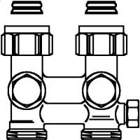 """Multiflex F két- vagy egycsöves fűtőtest-csatlakozás ZBU, egyenes, 3/4"""" hollandi x 3/4"""" km, sárgaréz, üríthető"""