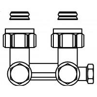 """Multiflex F két- vagy egycsöves fűtőtest-csatlakozás ZBU, sarok, 3/4"""" hollandi x 3/4"""" km, sárgaréz, üríthető"""