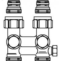 """Multiflex F két- vagy egycsöves fűtőtest-csatlakozás ZBU, egyenes, 1/2"""" km x 3/4"""" km, sárgaréz, üríthető"""