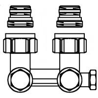 """Multiflex F két- vagy egycsöves fűtőtest-csatlakozás ZBU, sarok, 1/2"""" km x 3/4"""" km, sárgaréz, üríthető"""