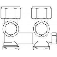 """Multiflex V egycsöves fűtőtest-csatlakozás CE, egyenes, 3/4"""" hollandi x 3/4"""" km, sárgaréz, üríthető"""