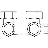"""Multiflex V egycsöves fűtőtest-csatlakozás CE, sarok, 3/4"""" hollandi x 3/4"""" km, sárgaréz, üríthető"""
