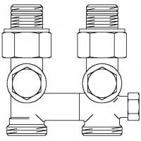 """Multiflex V egycsöves fűtőtest-csatlakozás CE, egyenes, 1/2"""" km x 3/4"""" km, sárgaréz, üríthető"""