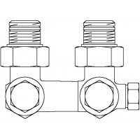 """Multiflex V egycsöves fűtőtest-csatlakozás CE, sarok, 1/2"""" km x 3/4"""" km, sárgaréz, üríthető"""