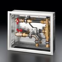 Floorbox felületfűtési-hűtési elosztóegység, oldalsó csatlakozással (110-145 mm x 400 mm x 350 mm)