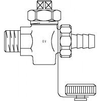 """Kombinált töltő-ürítő csap, DN10, R 3/8"""" km, PN 16, vörösöntvény, DIN 3848"""
