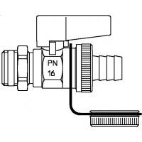 """Optiflex golyóscsap, DN10, 3/8"""" km, sárgaréz, tömlővéges csatlakozás és zárósapkával, nikkelezett"""