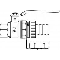 """Golyóscsap tömlővéges csatlakozóval, sárgaréz, DN15, R 1/2"""" bm, PN16, hőm. tartomány -20-120°C"""
