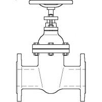 Karimás tolózár, PN 16, szürkeöntvény, DN100, DIN 2501 szerinti karimával