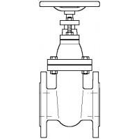Karimás tolózár, PN 10, szürkeöntvény, DN100, DIN 2501 szerinti karimával