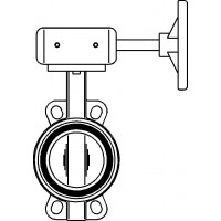 Pillangószelep, karima közé építhető, kerékkel, -10 - +110 °C, tárcsa CF8M, DN100