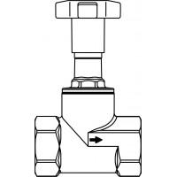 """Egyenesülékű szelep, DN10, R 3/8"""" bm, PTFE-tömítéssel, vörösöntvény, műanyag fogantyúval"""