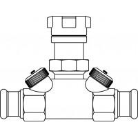 Hycocon ATZ strangelzáró szelep, sárgaréz, DN15, 15 mm préscsatlakozóval, mérő- és ürítőszeleppel, kvs=1.70