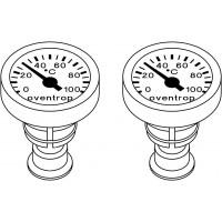 Hőmérőpár Optibal golyóscsapokba karjába építhető (piros-előremenő, kék-visszatérő)