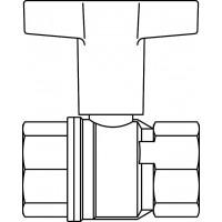 """Golyóscsap, műanyag fogantyúval, horganykiválás-mentes sárgarézből, mindkét oldalon ISO 228/1 szerinti belső menettel, DN15, 1/2"""""""