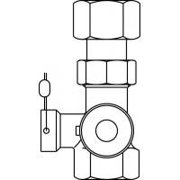 """Expa-Con ellenőrzőszelep ólomzárral, DN20, 3/4"""" bm, 1"""" bm, PN10, sárgaréz"""
