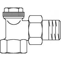 """Combi 3 visszatérő fűtőtestszelep, DN15, 1/2"""", PN10, sarok, vörösöntvény / sárgaréz, nikkelezett"""