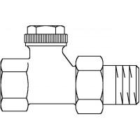 """Combi 3 visszatérő fűtőtestszelep, DN10, 3/8"""", PN10, egyenes, vörösöntvény / sárgaréz, nikkelezett"""