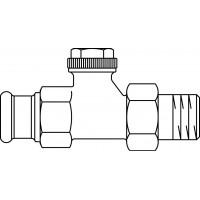 """Combi 3 visszatérő fűtőtestszelep, DN15, 1/2"""" x 15 mm préscsatlakozóval, PN10, egyenes, vörösöntvény / sárgaréz, nikkelezett"""