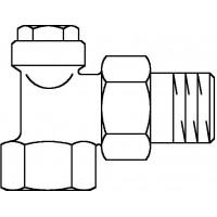 """Combi 4 visszatérő fűtőtestszelep, DN10, 3/8"""", PN10, sarok, vörösöntvény / sárgaréz, nikkelezett"""