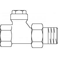 """Combi 4 visszatérő fűtőtestszelep, DN15, 1/2"""", PN10, egyenes, vörösöntvény / sárgaréz, nikkelezett"""