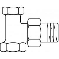 """Combi 2 visszatérő fűtőtestszelep, DN10, 3/8"""", PN10, sarok, sárgaréz, nikkelezett"""
