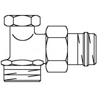 """Combi 2 visszatérő fűtőtestszelep, DN15, 1/2"""" x 3/4"""" km, PN10, sarok, sárgaréz, nikkelezett"""