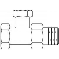 """Combi 2 visszatérő fűtőtestszelep, DN10, 3/8"""", PN10, egyenes, sárgaréz, nikkelezett"""