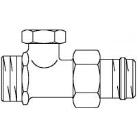 """Combi 2 visszatérő fűtőtestszelep, DN15, 1/2"""" x 3/4"""" km, PN10, egyenes, sárgaréz, nikkelezett"""