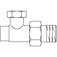 """Combi 2 visszatérő fűtőtestszelep, 1/2"""" km x 12 mm, PN10, vörösöntvény, egyenes, nyers"""
