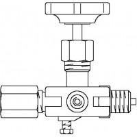 """Manométer zárószelep, 1/2"""" km, PN400, ellenőrző perem, acél / rozsdamentes acél"""