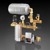 Regufloor HX fűtési szabályozó egység tágulási tartállyal, hőcserélővel, DN25, Wilo E15/1-5 szivattyúval