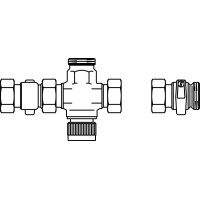 Háromjáratú elosztószelep, S-csatlakozó csavarzattal
