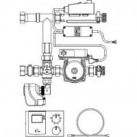Regufloor HW szabályozó egység, DN25, időjáráskövető, Wilo E15/1-5 szivattyúval