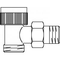A típusú termosztatikus szelep, DN15, G 3/4 km x R 1/2, PN10, sarok