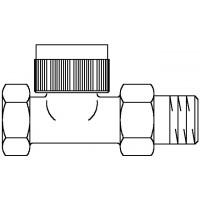 A típusú termosztatikus szelep, DN15, R 1/2, PN10, egyenes