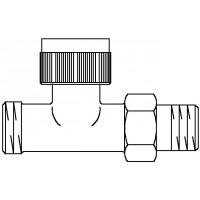 A típusú termosztatikus szelep, DN15, G 3/4 km x R 1/2, PN10, egyenes