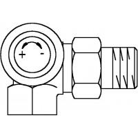 A típusú termosztatikus szelep, DN10, R 3/8, PN10, térsarok, bal oldali csatlakozás
