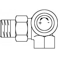A típusú termosztatikus szelep, DN10, R 3/8, PN10, térsarok, jobb oldali csatlakozás