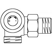 A típusú termosztatikus szelep, DN15, G 3/4 km x R 1/2, PN10, térsarok, bal oldali csatlakozás