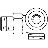A típusú termosztatikus szelep, DN15, G 3/4 km x R 1/2, PN10, térsarok, jobb oldali csatlakozás
