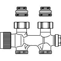 """Multiblock T csatlakozó szerelvény, egy- és kétcsöves, 1/2"""" km x 3/4"""" km, egyenes, kv=0.52, kvs=0.75"""