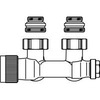 """Multiblock T csatlakozó szerelvény, egy- és kétcsöves, 1/2"""" km x 3/4"""" km, sarok, kv=0.52, kvs=0.75"""