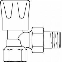 """HR típusú kézi szabályozószelep, PN10, DN20, 3/4"""", sarok, fehér kézikerékkel, kvs=1.45"""